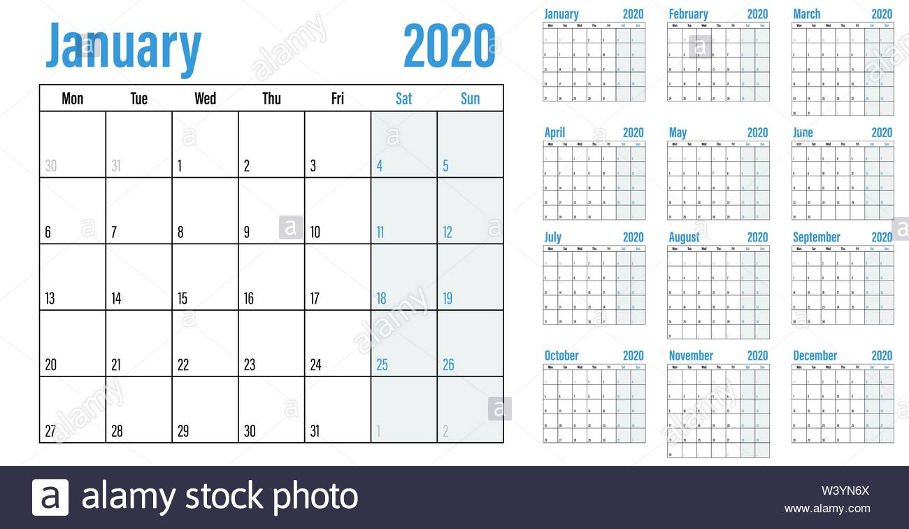 Calendar Planner 2020 Template Vector Illustration All 12 throughout Monday To Sunday Calendar Template