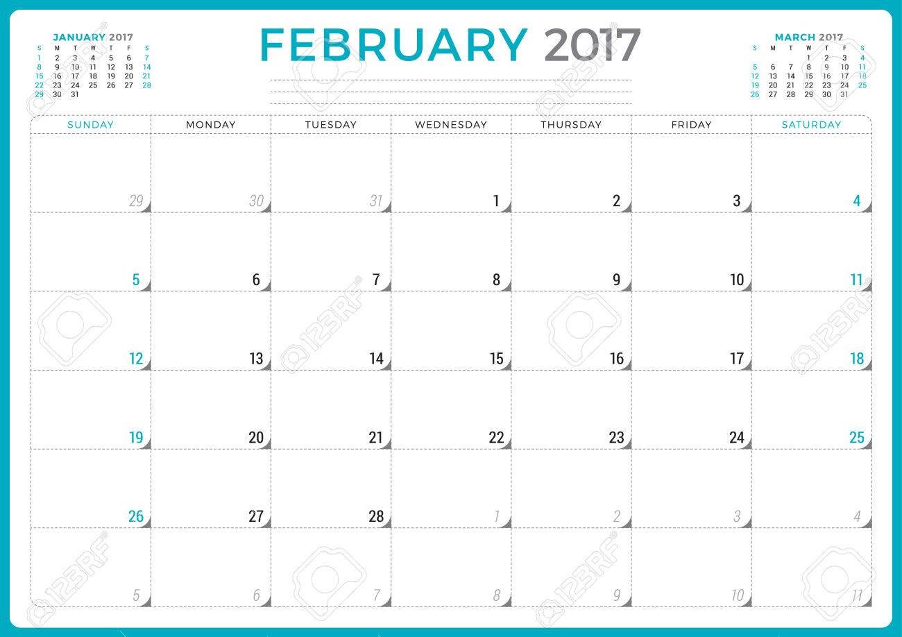 Calendar Planner For 2017 Year. Vector Design Template. February. Week  Starts Sunday. 3 Months On Page. Stationery Design intended for Saturday To Friday Calendar
