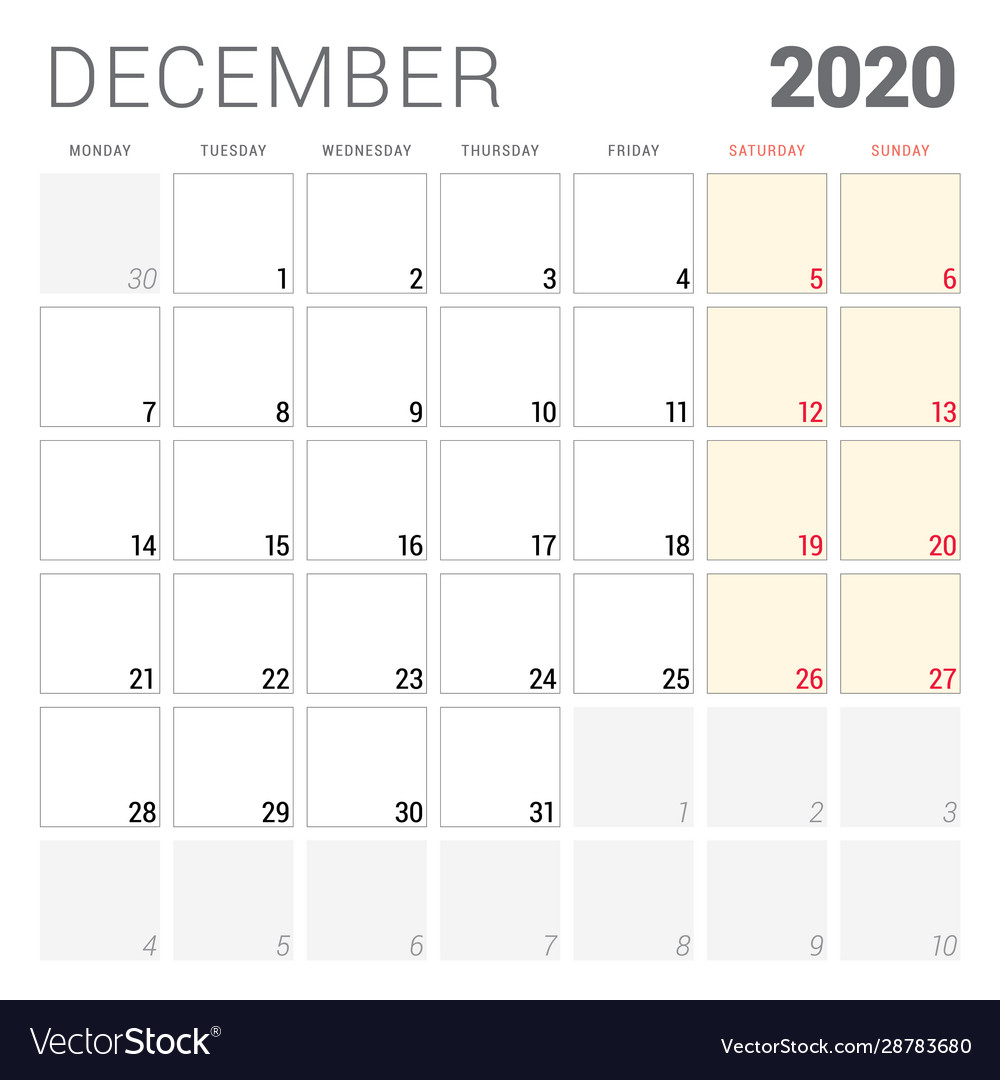 Calendar Planner For December 2020 Week Starts On with regard to Calander For December 2020