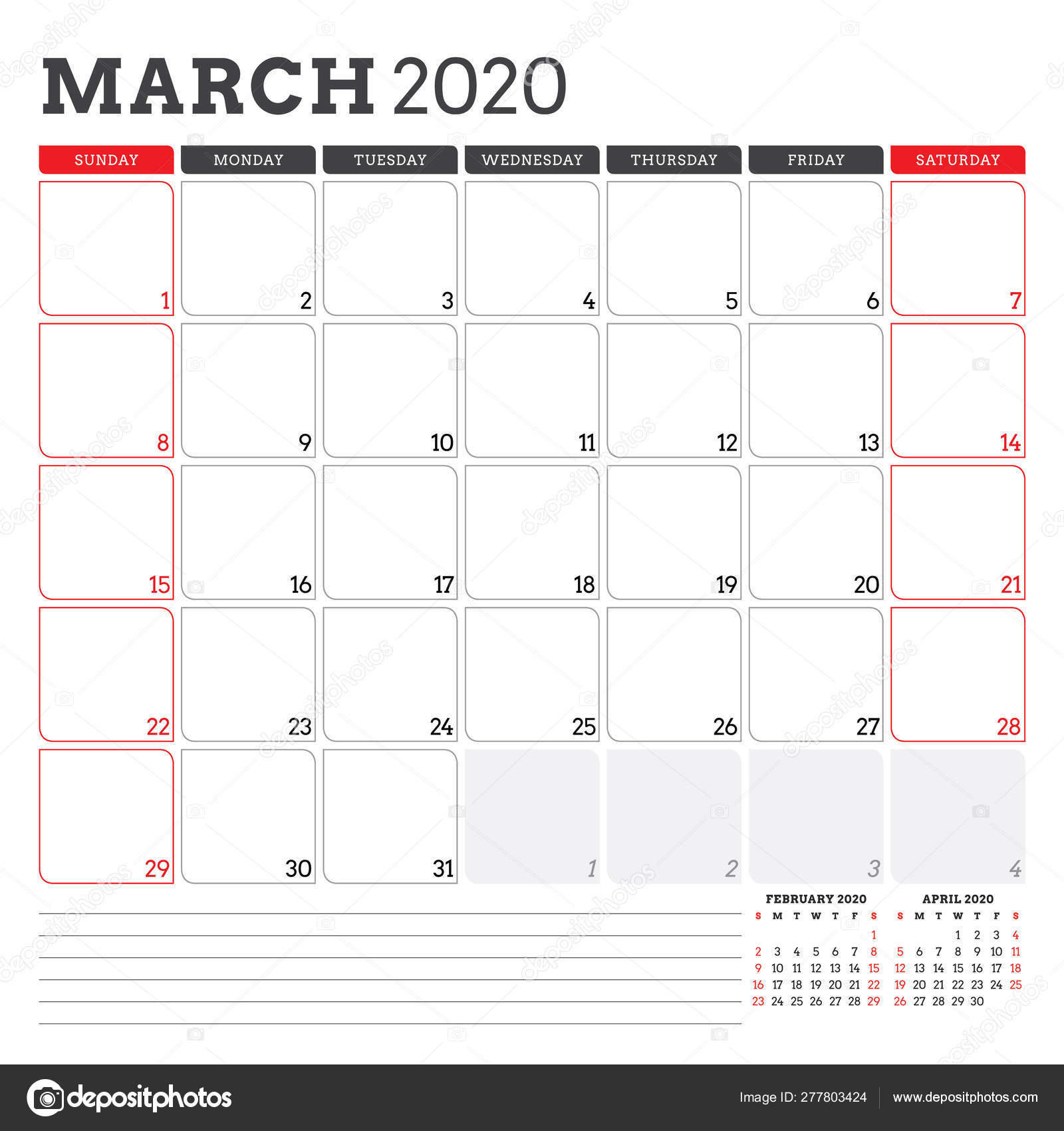Calendar Planner For March 2020. Week Starts On Sunday throughout Printable Week Calendar