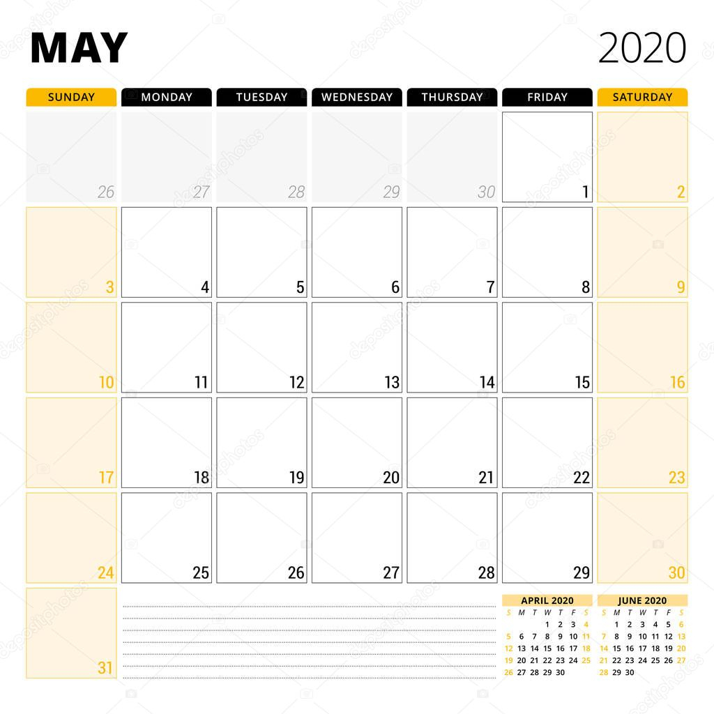 Calendar Planner For May 2020. Stationery Design Template for Saturday To Friday Calendar