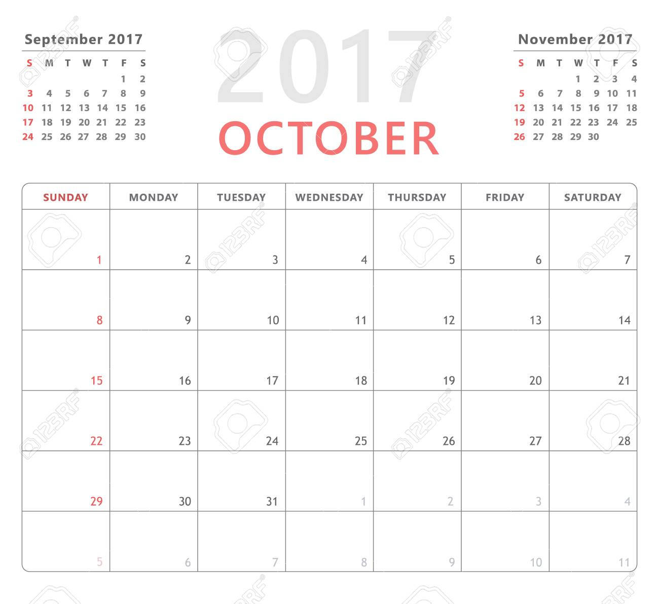 Calendar Planner For October 2017 Starts Sunday, Vector Calendar Design  2017 Year regarding Monday To Friday Planner