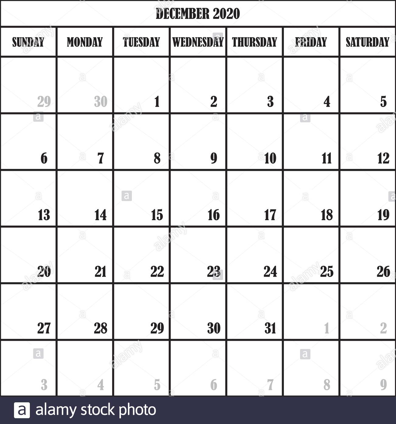 Calendar Planner Month December 2020 On Transparent intended for 2020 Transparent Background