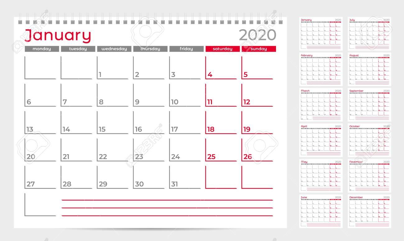 Calendar Planner Template 2020. Week Start From Monday. Set Of.. in 2020 Calendar Template Monday Start