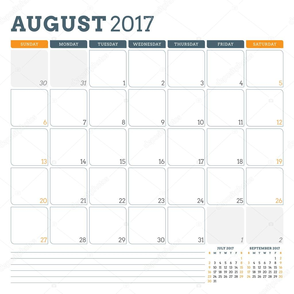 Calendar Planner Template For August 2017. Week Starts within Monday To Sunday Calendar Template