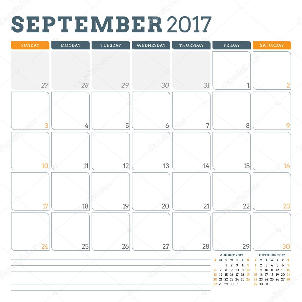 Calendar Planner Template For September 2017. Week Starts in Saturday To Friday Calendar