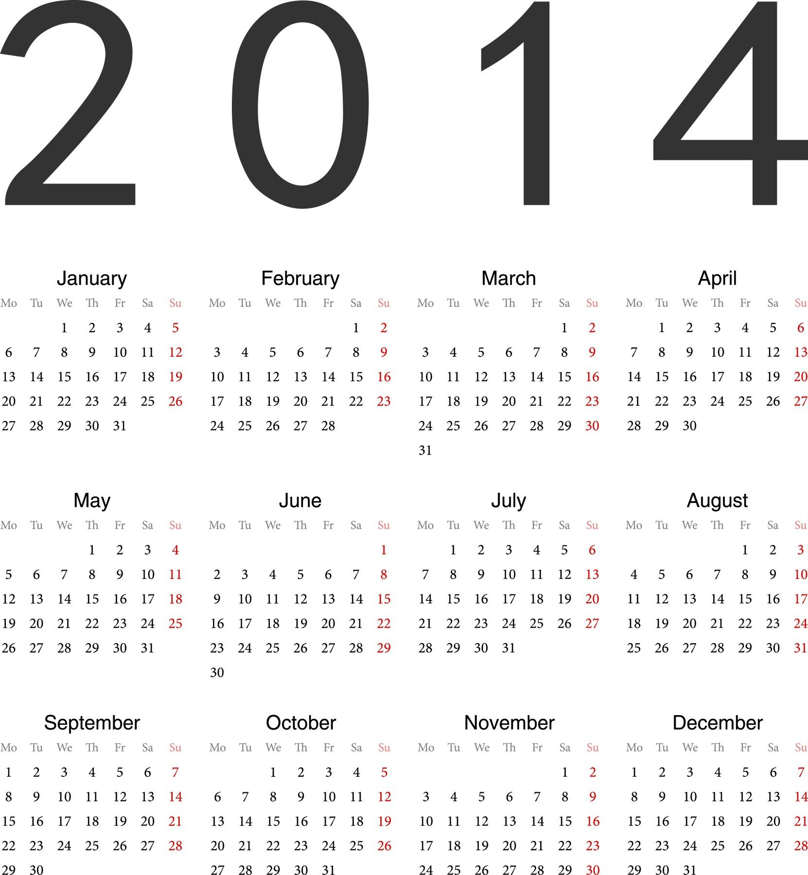 Calendar Print Ready Free Printable Calendars And Planners inside Calendar 2014 Printable