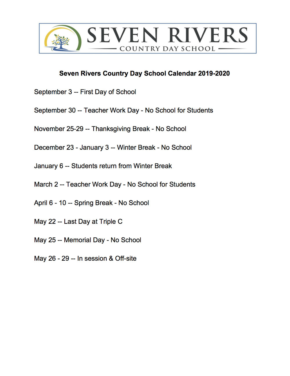 Calendar — Seven Rivers intended for Triple C School Calendar 2020