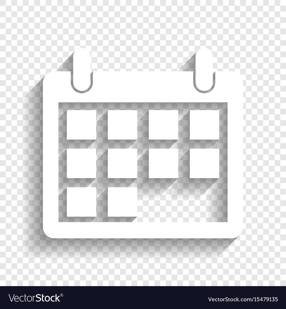 Calendar Sign White Icon within Calendar Icon White