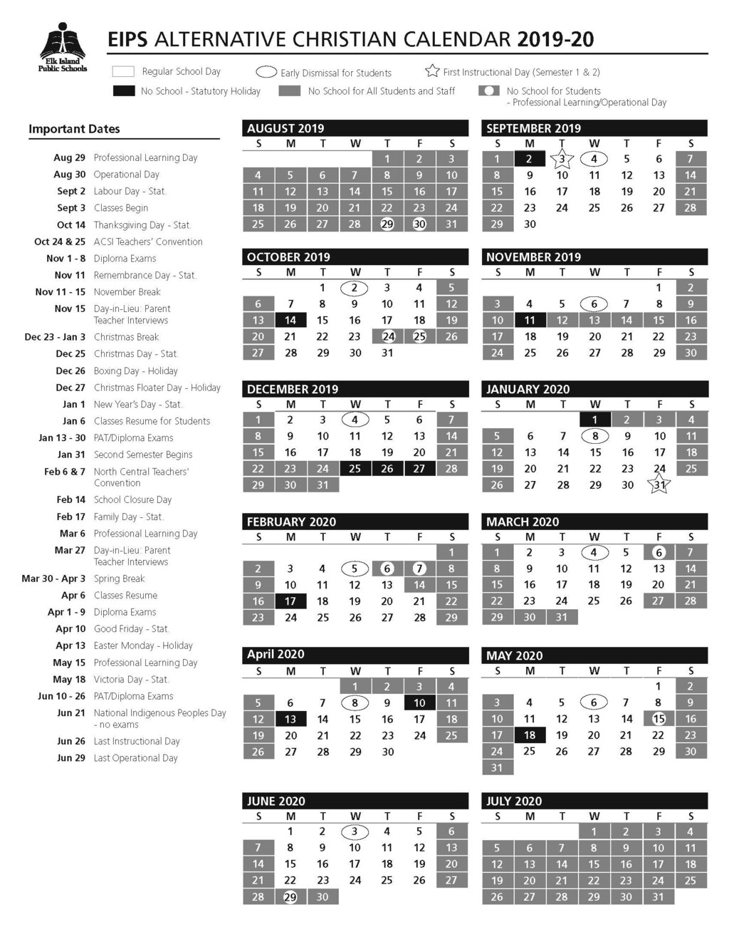 Calendar | Strathcona Christian Academy Secondary throughout Fr Haythorne Calendar