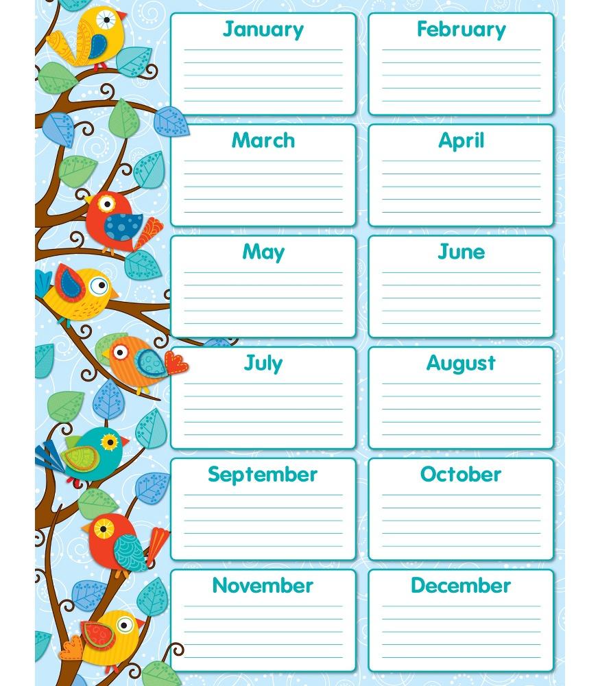 Calendar Template For Classroom | Free Resume Templates intended for Classroom Birthday Calendar Template