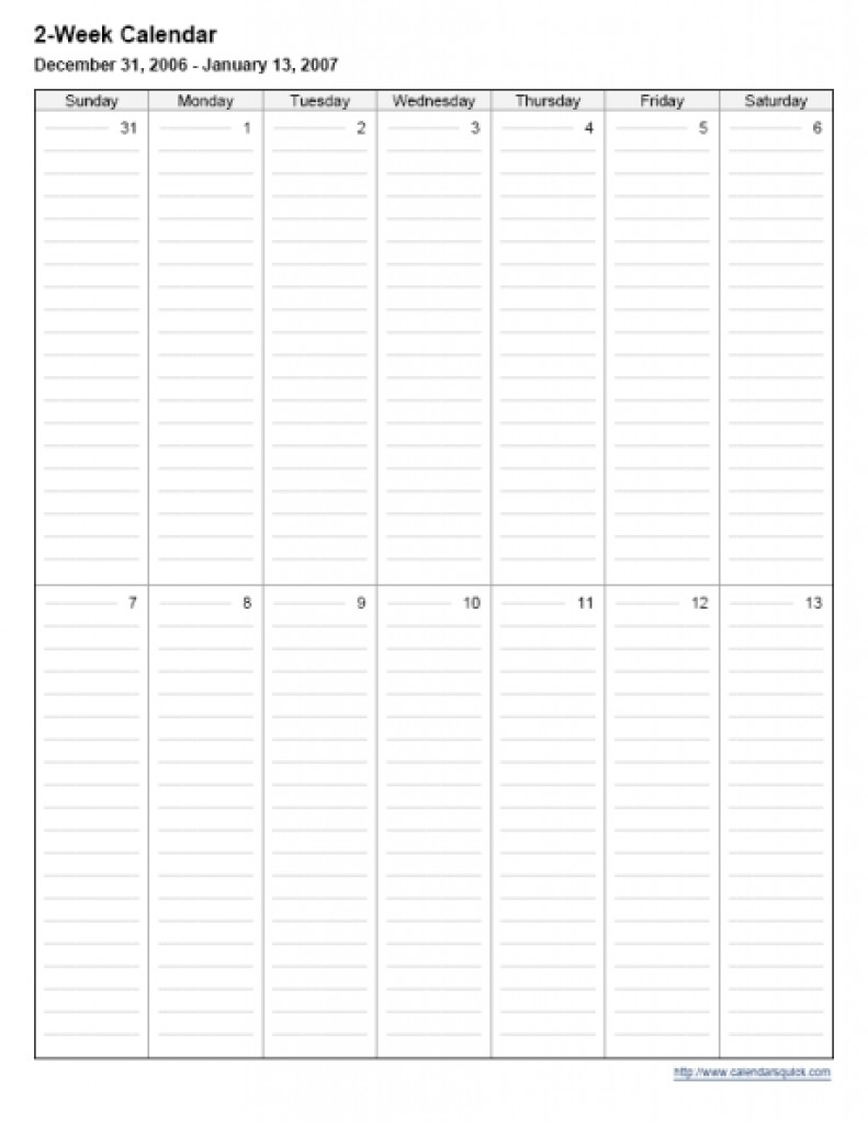 Calendar Template Two Weeks | Free Calendar Template Example with regard to Two Week Printable Calendar