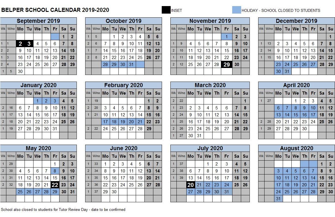 Calendar & Term Dates – Belper School & Sixth Form Centre throughout Barr Beacon Calendar
