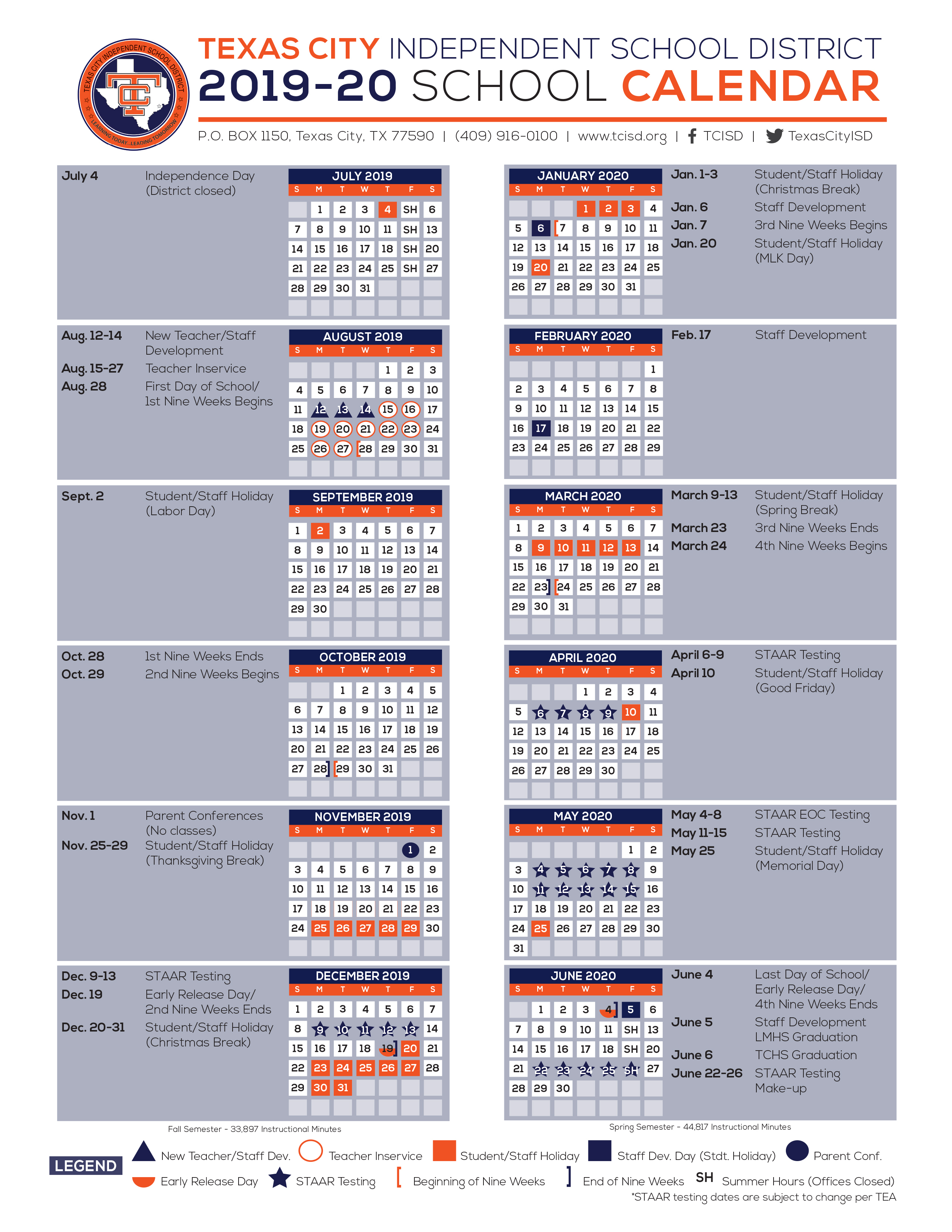 Calendar  Texas City Independent School District with Hisd Calendar 2018-19