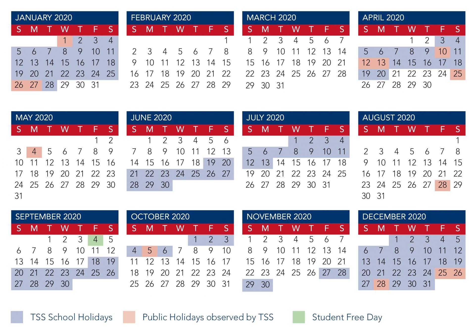 Calendar | The Southport School within Qut Academic Calendar 2020
