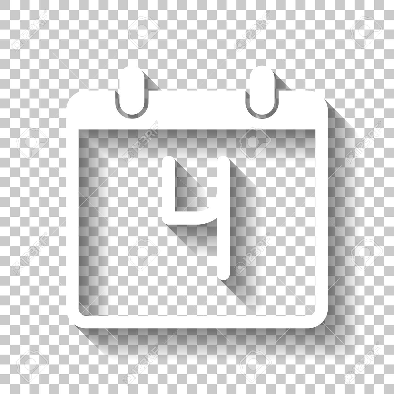 Calendar With 4 Day, Simple Icon. White Icon With Shadow On Transparent.. within Calendar Icon White
