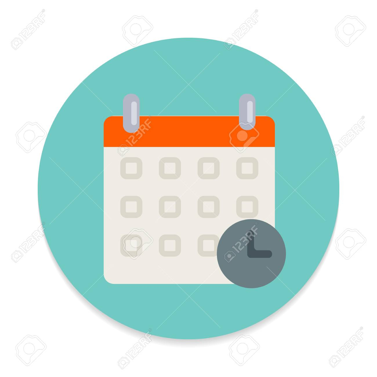 Calendar With Clock Flat Icon. Round Colorful Button, Schedule,.. regarding Calendar Icon Round