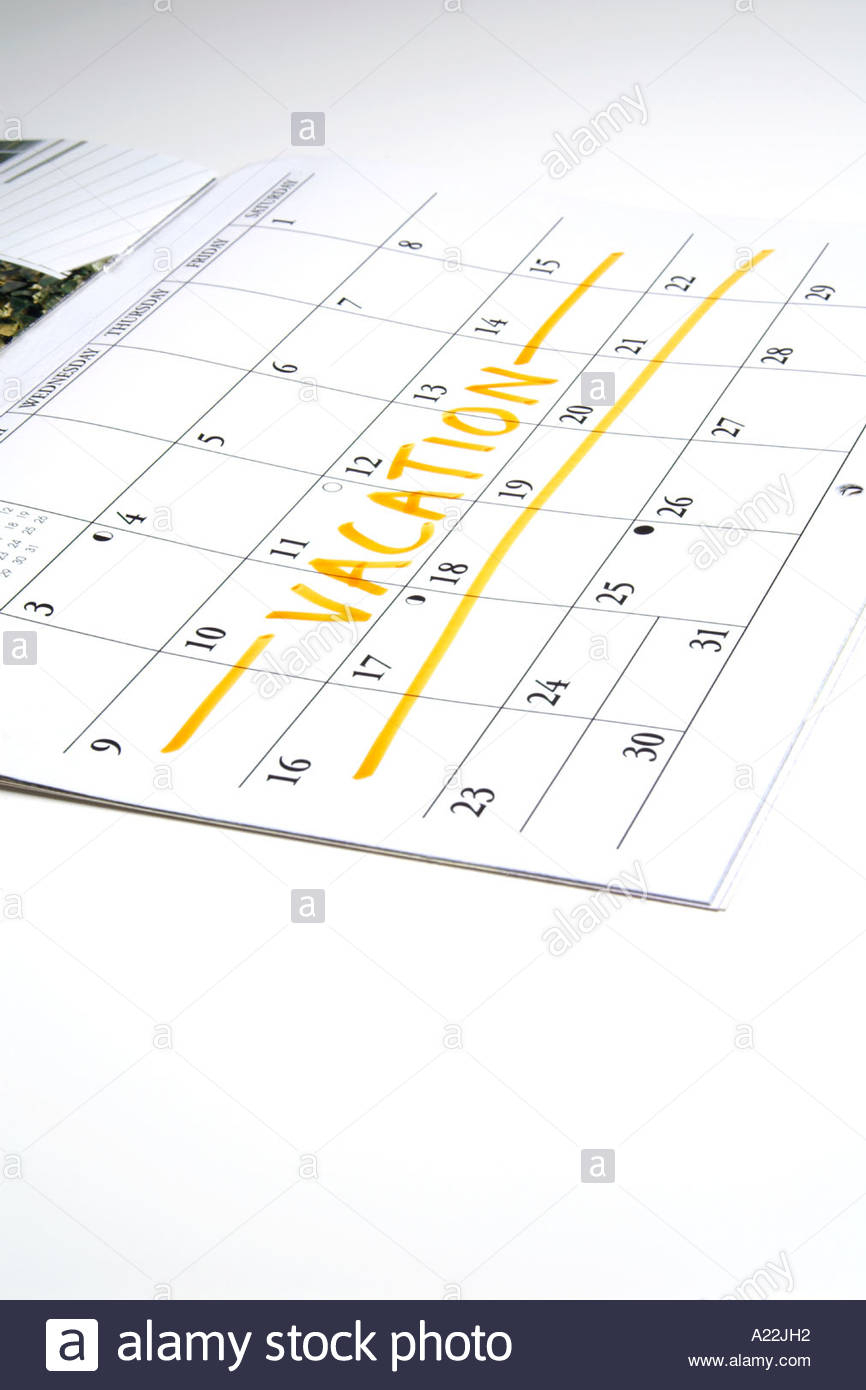 Calendar With Two Week Vacation Marked Off Stock Photo for Two Week Calander