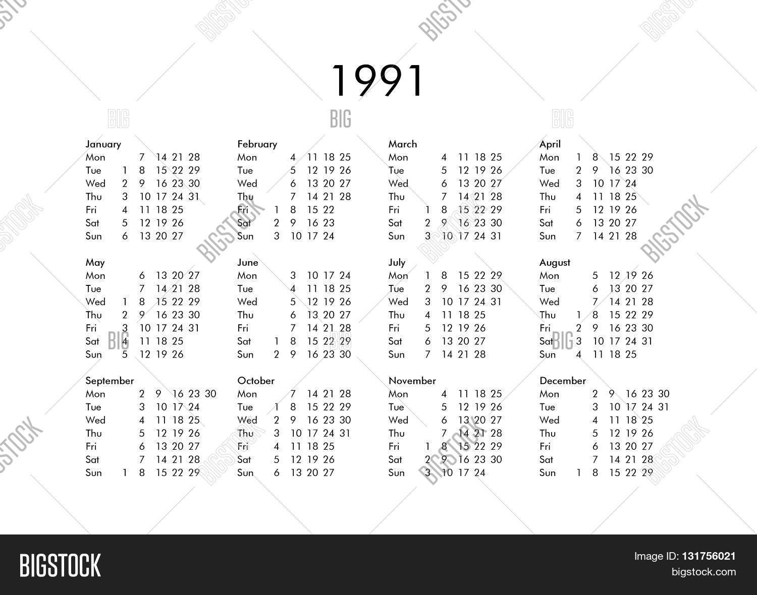 Calendar Year 1991 Image & Photo (Free Trial) | Bigstock pertaining to 1991 Calendar Year