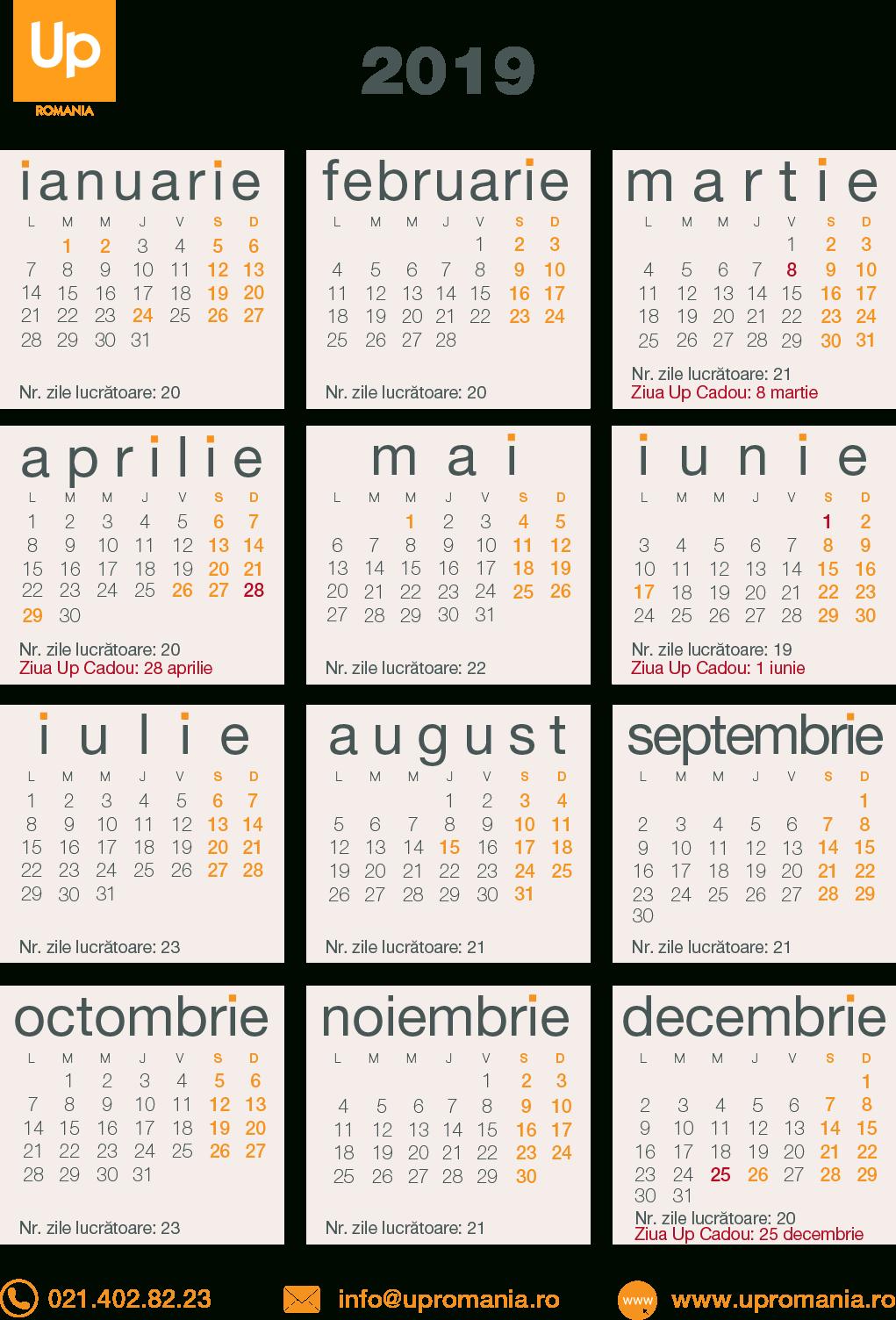 Calendar Zile Lucratoare 2020 | Up Romania intended for Calendar 2020 Cu Zile Lucratoare