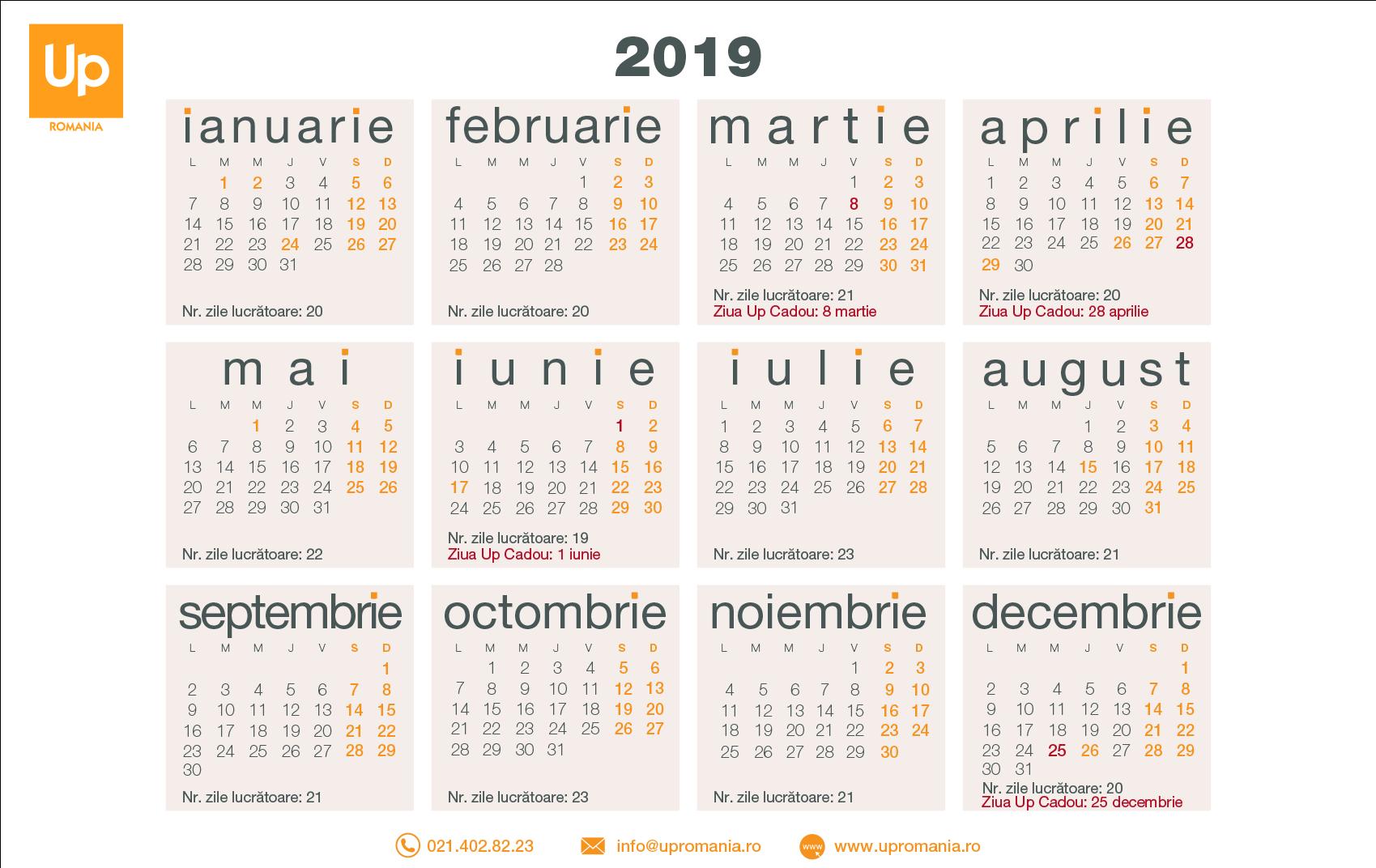 Calendar Zile Lucratoare 2020 | Up Romania within Calendar 2020 Zile Lucratoare