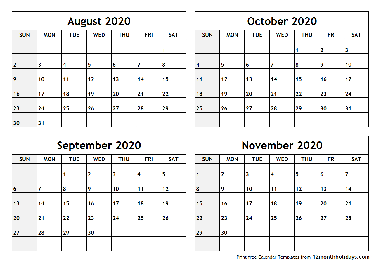Calendaraugusttonovember2020Printable  All 12 Month pertaining to Calendar August And September 2020