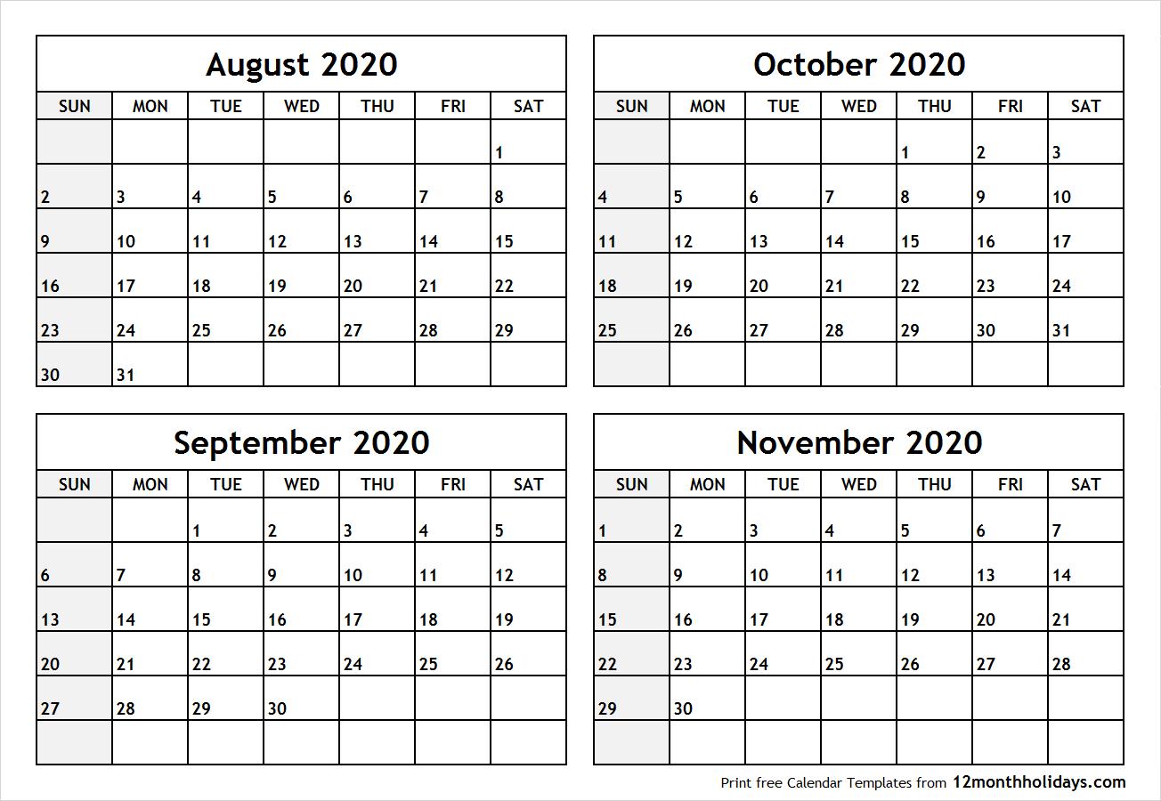 Calendaraugusttonovember2020Printable  All 12 Month within October & November 2020 Calendar