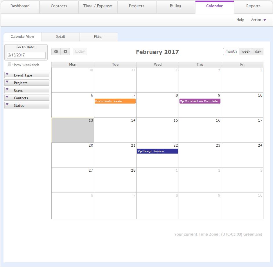 Calendarcalendar View in Time And Action Calendar