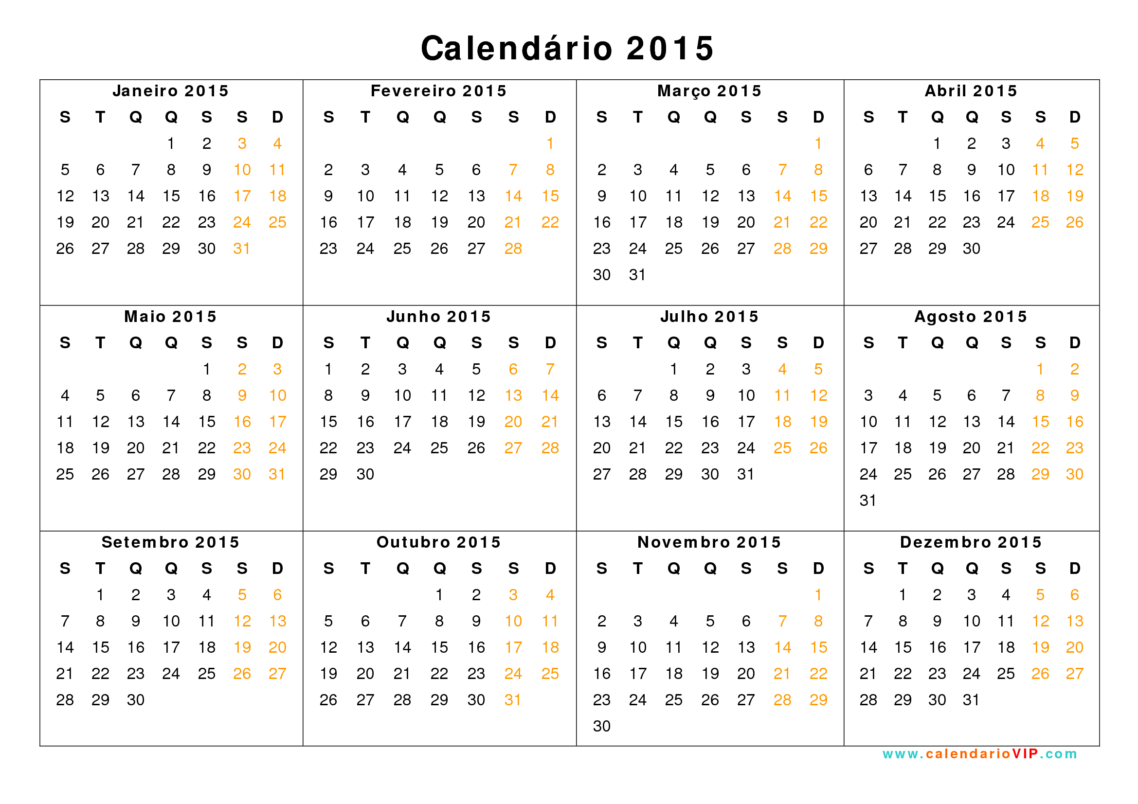 Calendario 2015 (2) | 2018 Calendar Printable For Free inside Calendario 2015 Para Imprimir