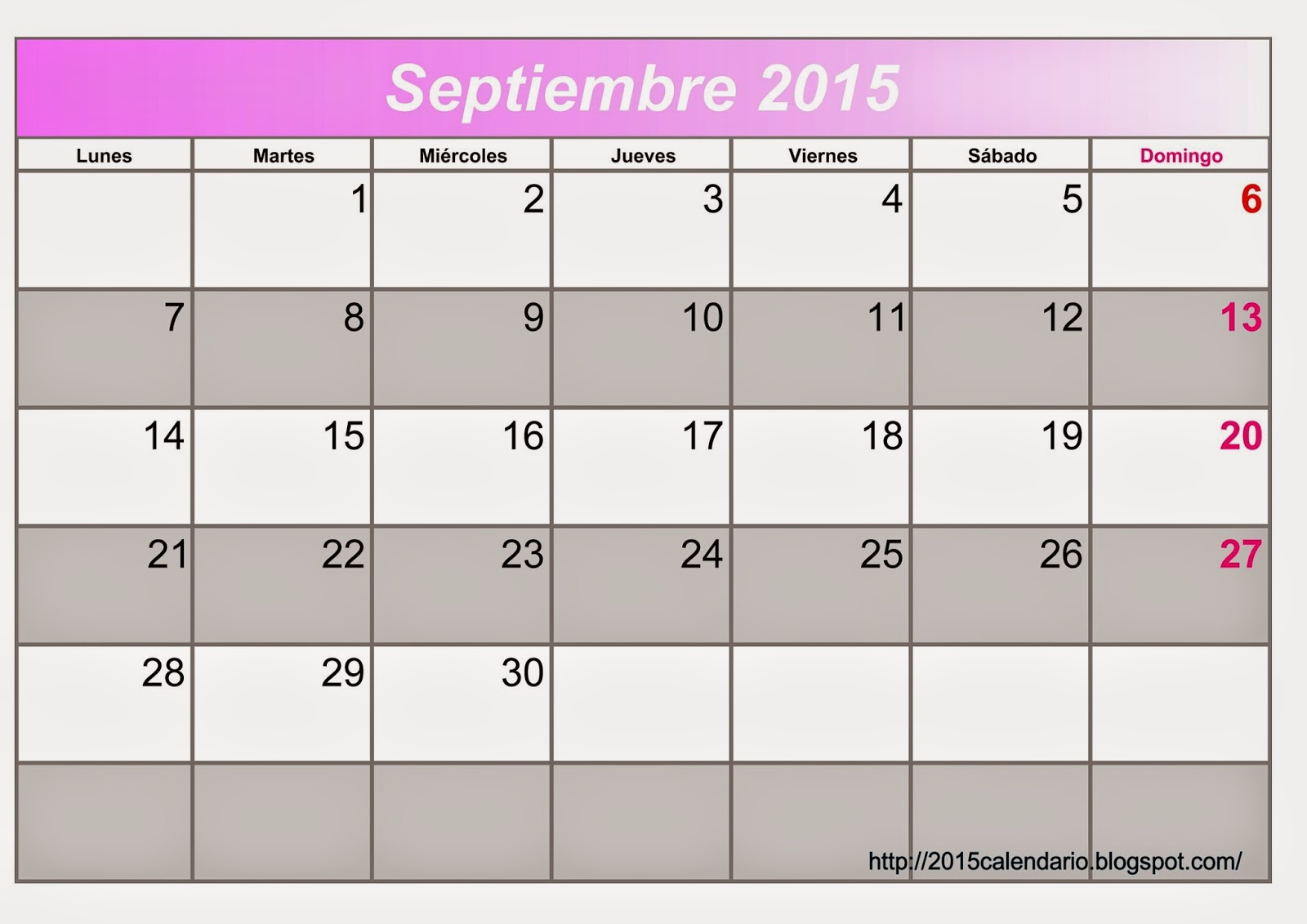 Calendario 2015 Para Imprimir, Descargar Plantilla regarding Calendario 2015 Para Imprimir