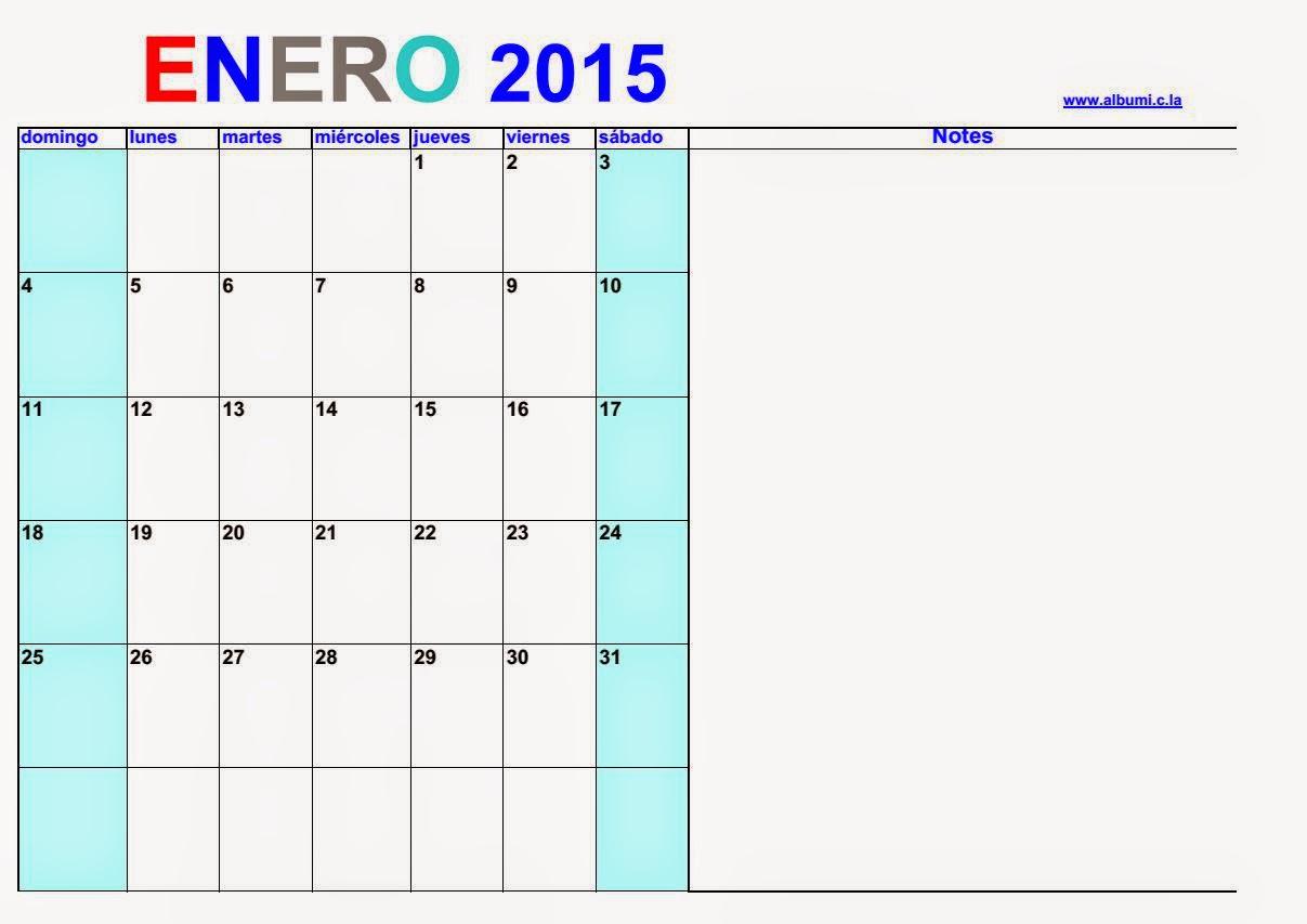 Calendario 2015 Para Imprimir  Enero 2015 | Calendars 2018 inside Calendario 2015 Para Imprimir