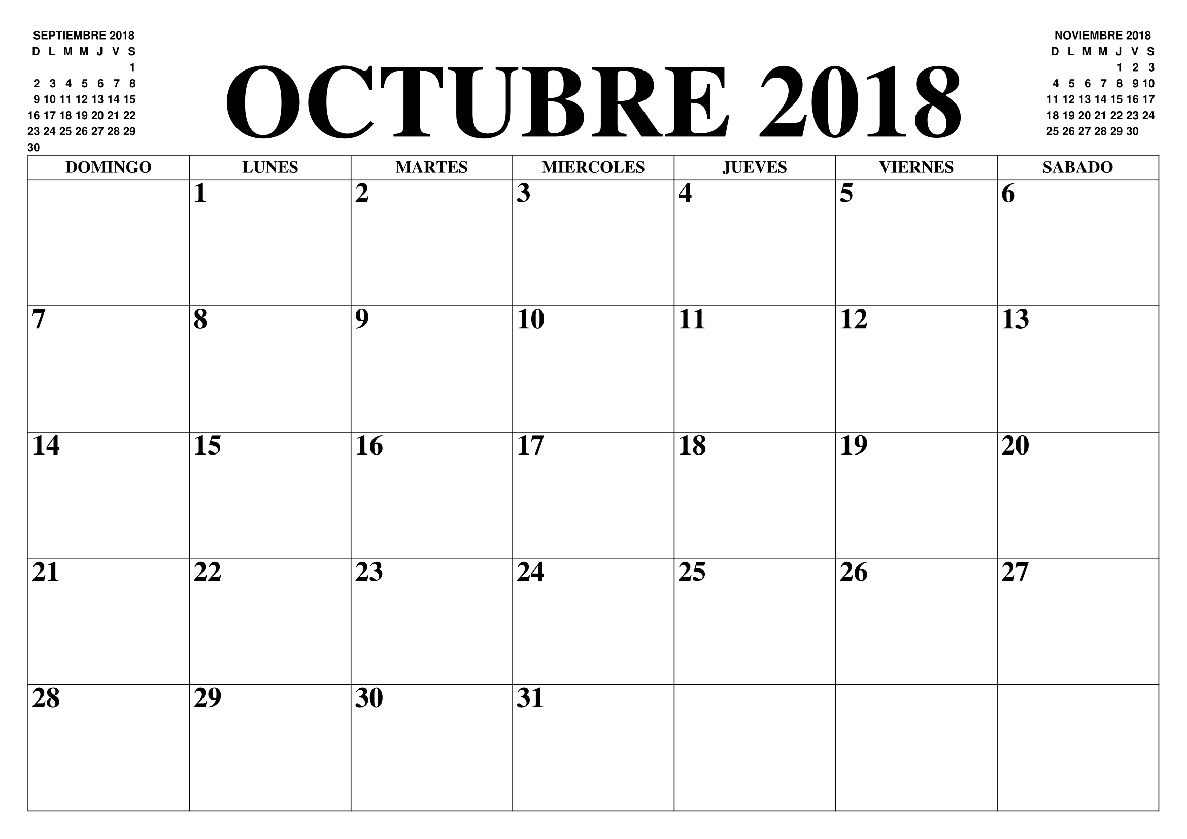 Calendario 2018 Octubre Para Imprimir | Calendar, Printable within Calendario Zbinden 2020