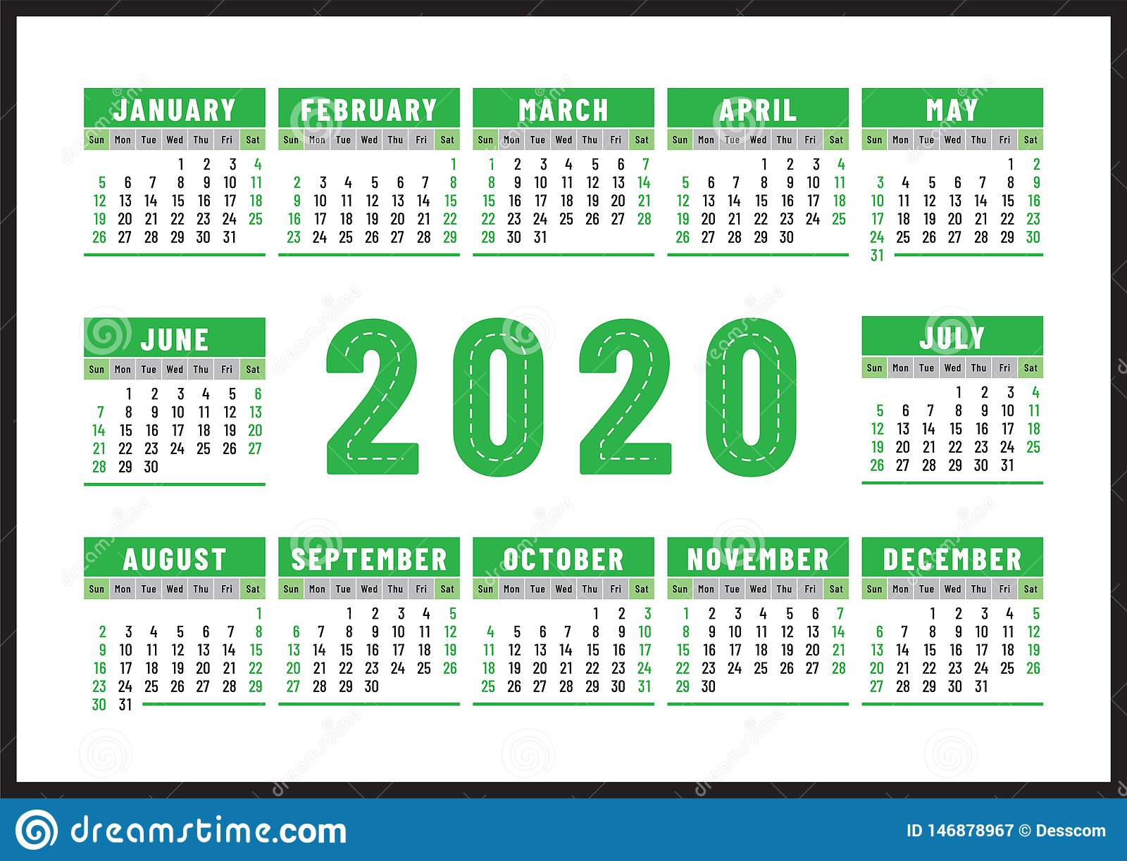 Calendario 2020 Diseño Inglés Del Vector Del Color Verde for Calendario 2020 Con Semanas