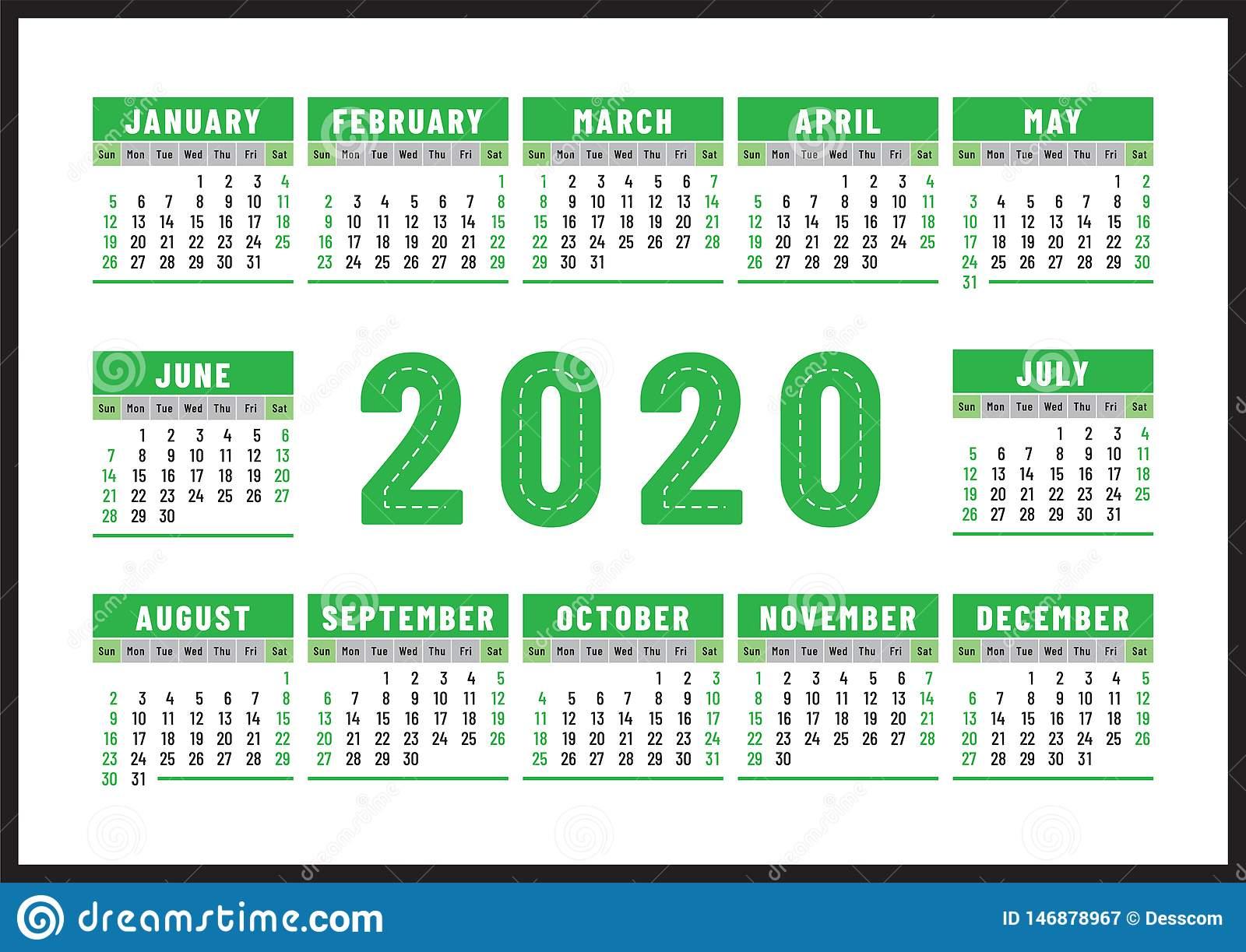 Calendario 2020 Diseño Inglés Del Vector Del Color Verde for Calendario 2020 Con Semanas
