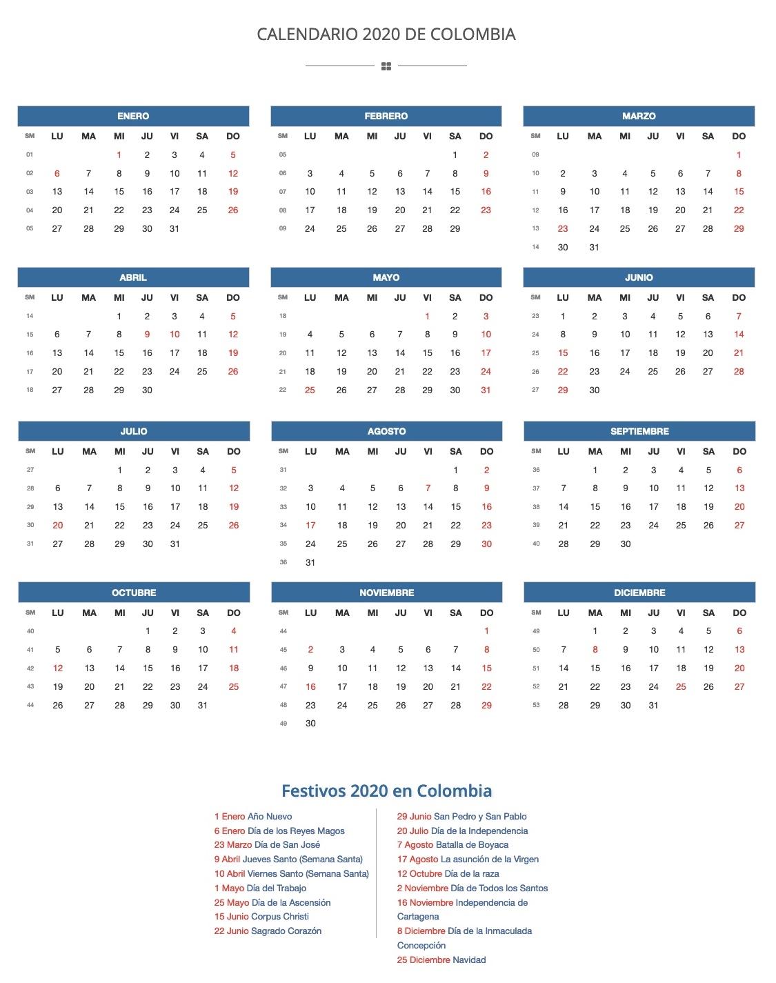 Calendario 2020 En Colombia Con Fechas De Días Festivos 2020 pertaining to Calendario 2020 Con Semanas
