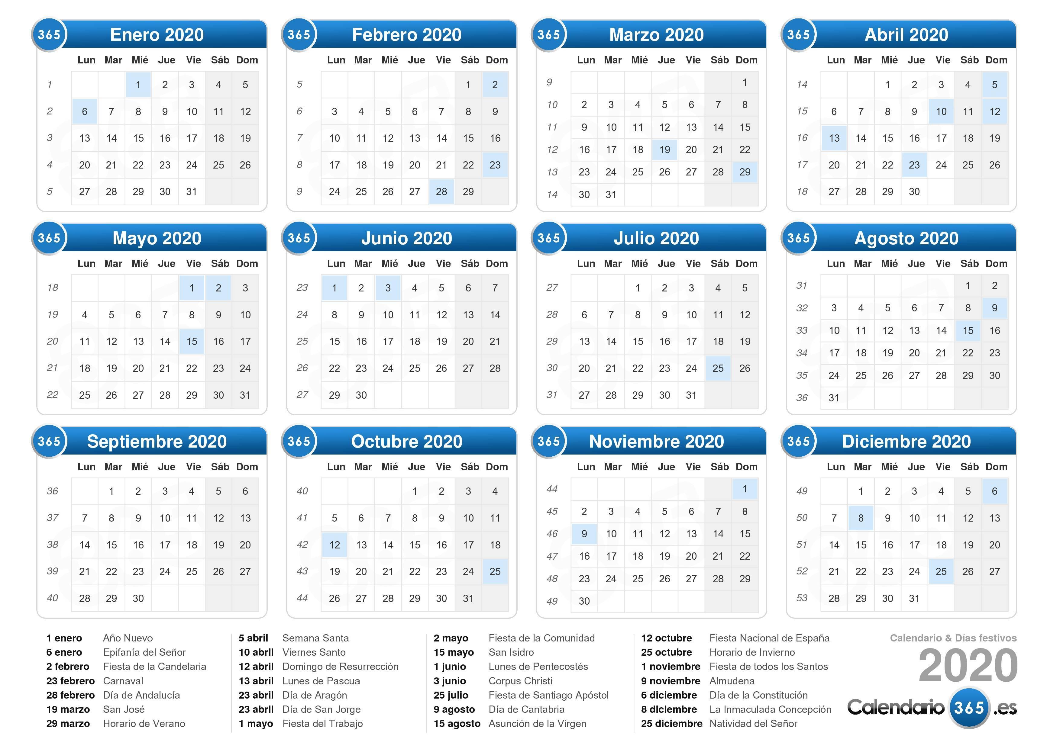 Calendario 2020 inside Calendario 2020 Con Semanas