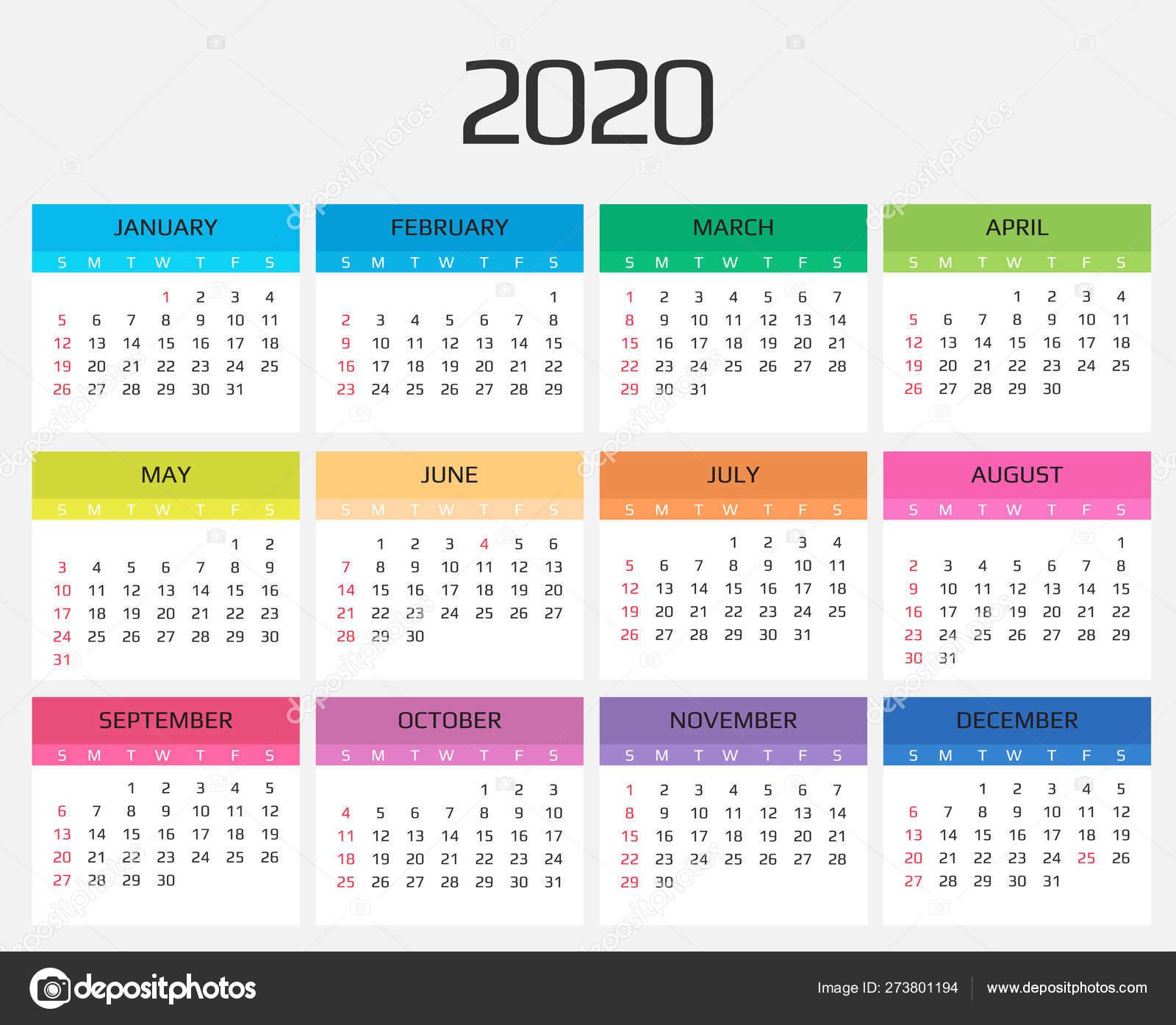 Calendario 2020 Plantilla. 12 Meses. Incluyen Un Evento in Calendario 2020 Con Semanas
