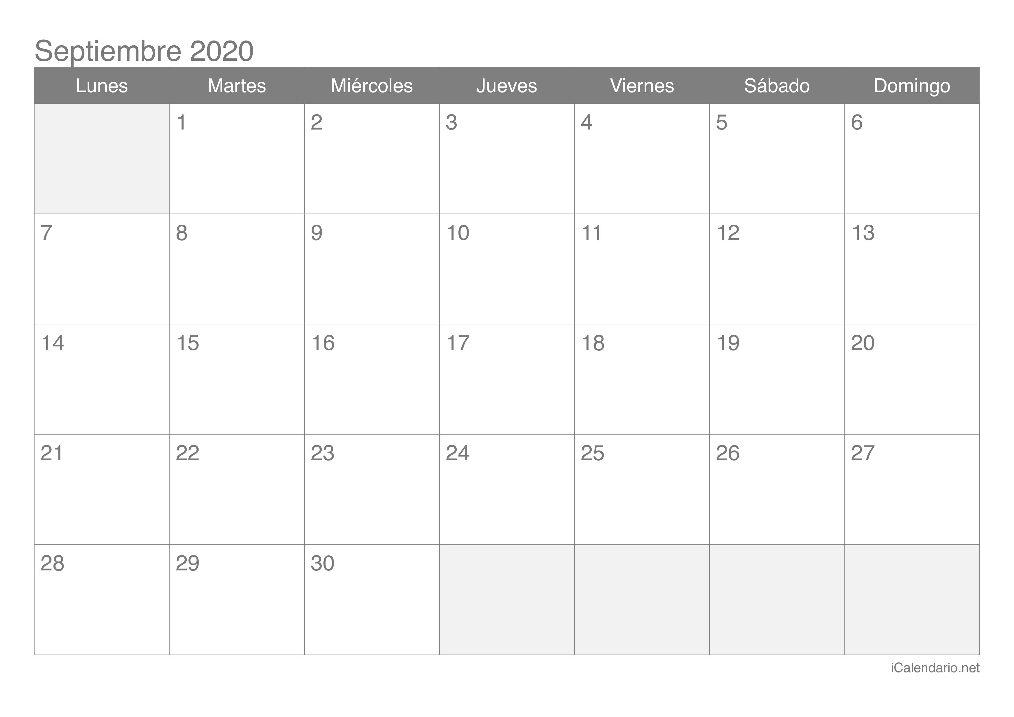 Calendario De Septiembre 2020  Yatay.horizonconsulting.co with Calendario Zbinden 2020
