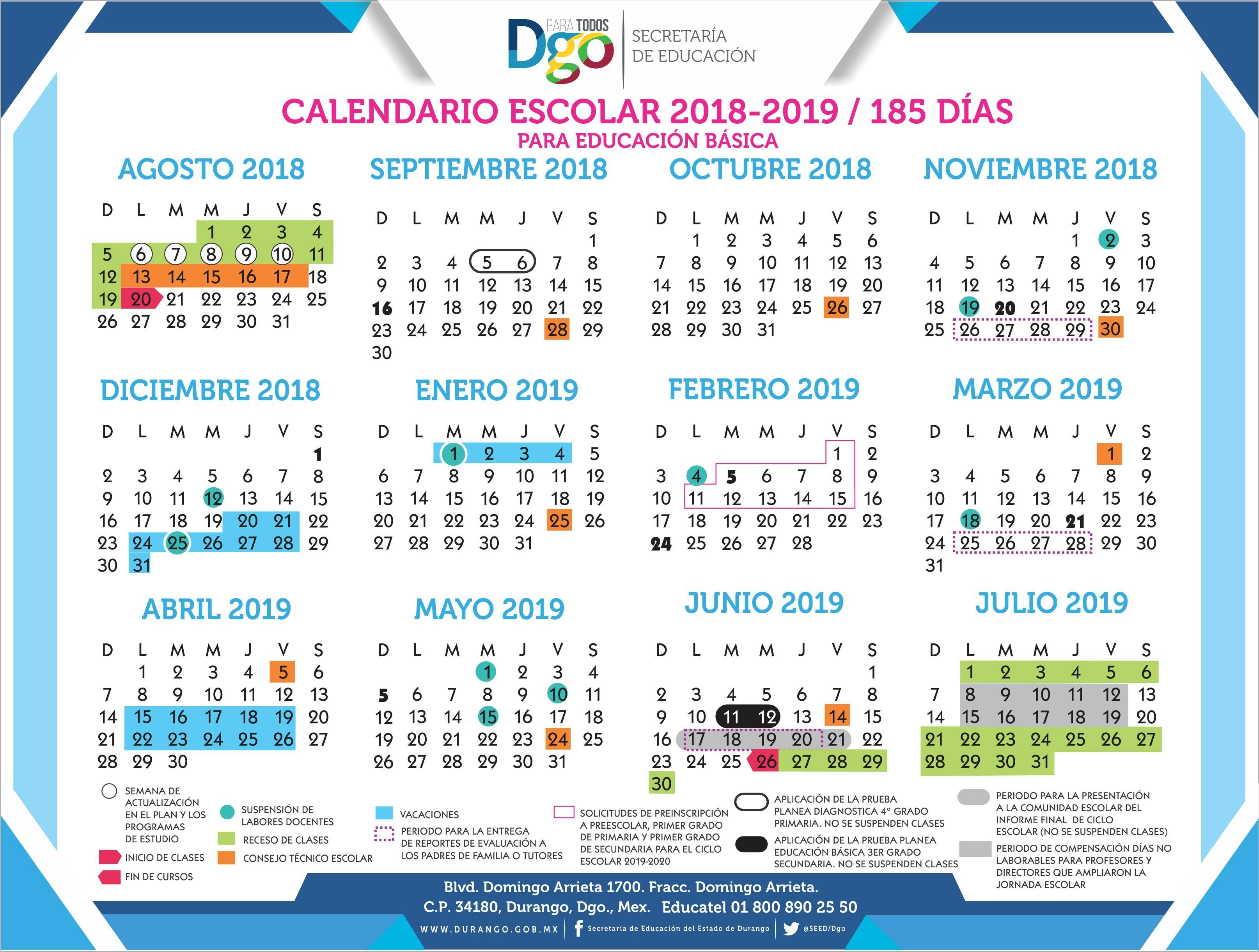 Calendario Escolar 20182019  Secretaría De Educación for Calendario Escolar Sep 2020 2020
