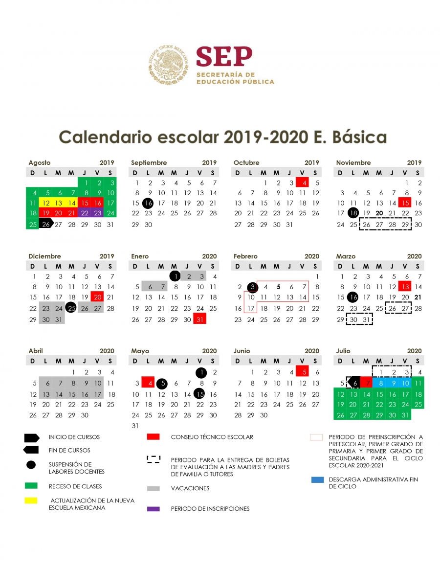 Calendario Escolar 20192020. 💋 Calendario De Valores 2019 throughout Calendario Escolar Sep 2020 2020