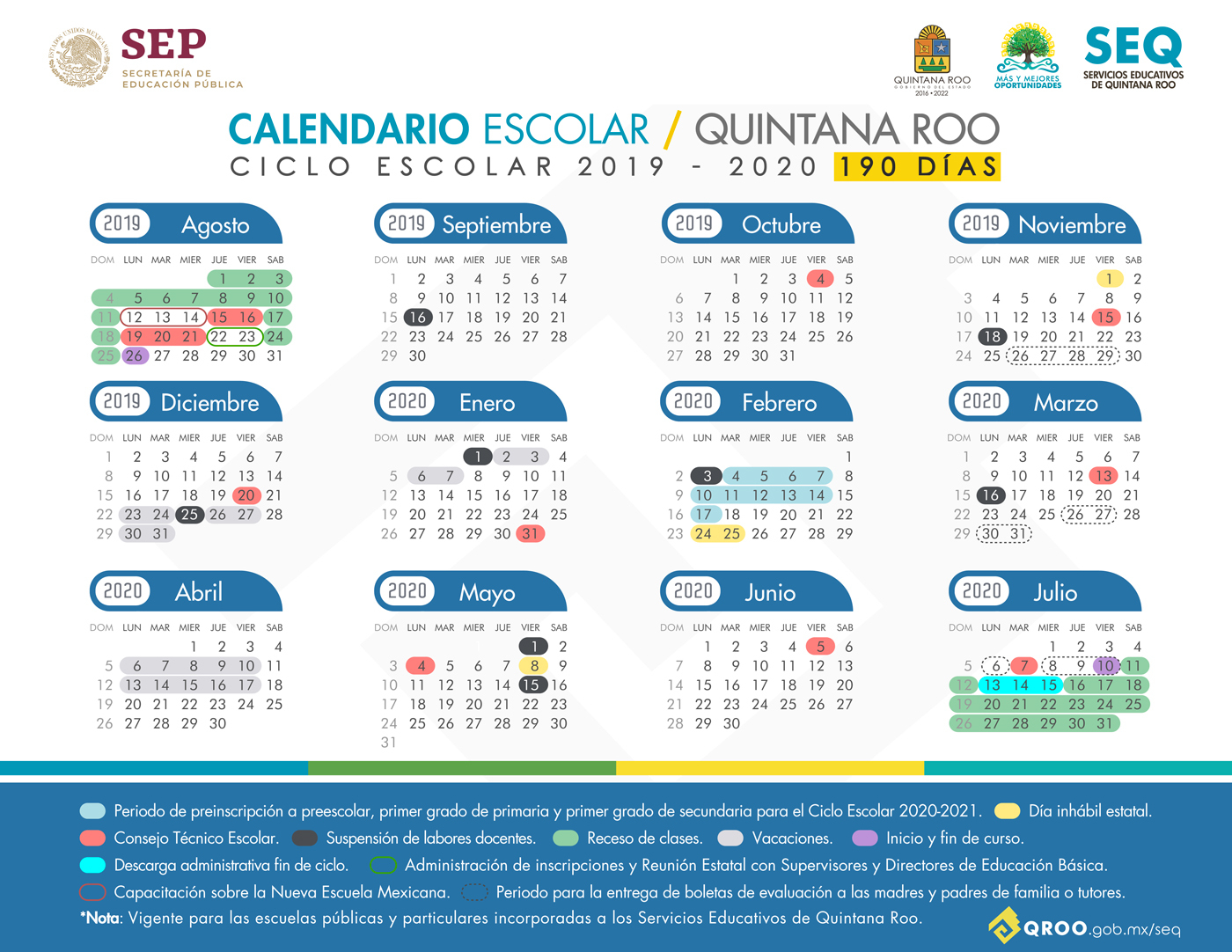 Calendario Escolar Ciclo Escolar 2019  2020 Para Escuelas inside Calendario Escolar Sep 2020 2020