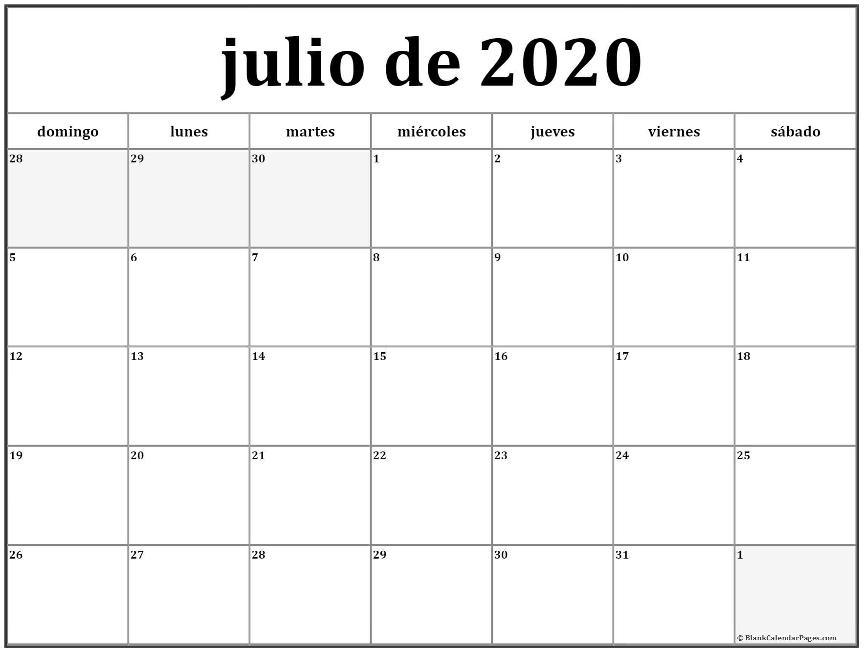 Calendario Julio 2020 Para Imprimir  Yatay.horizonconsulting.co with Calendario Zbinden 2020
