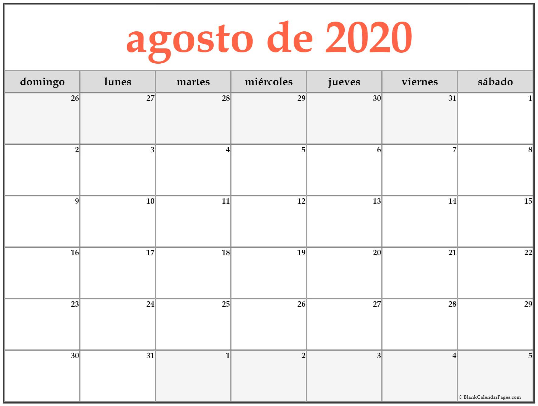Calendario Mensual 2020 Para Imprimir  Neyar with regard to Calendario 2020 Michel