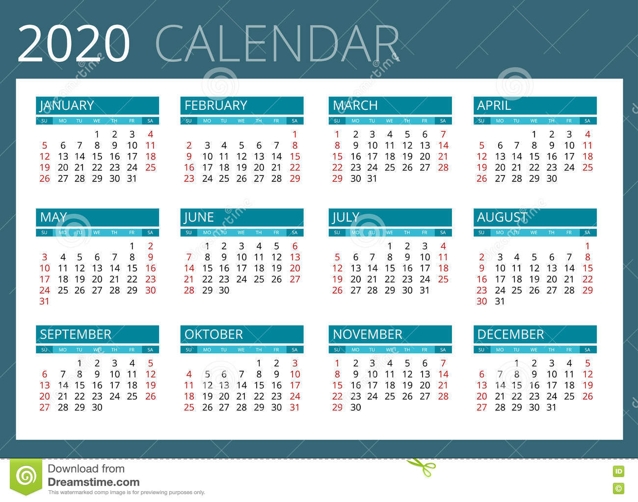 Calendario Para 2020 La Semana Comienza Domingo Diseño intended for Calendario 2020 Con Semanas