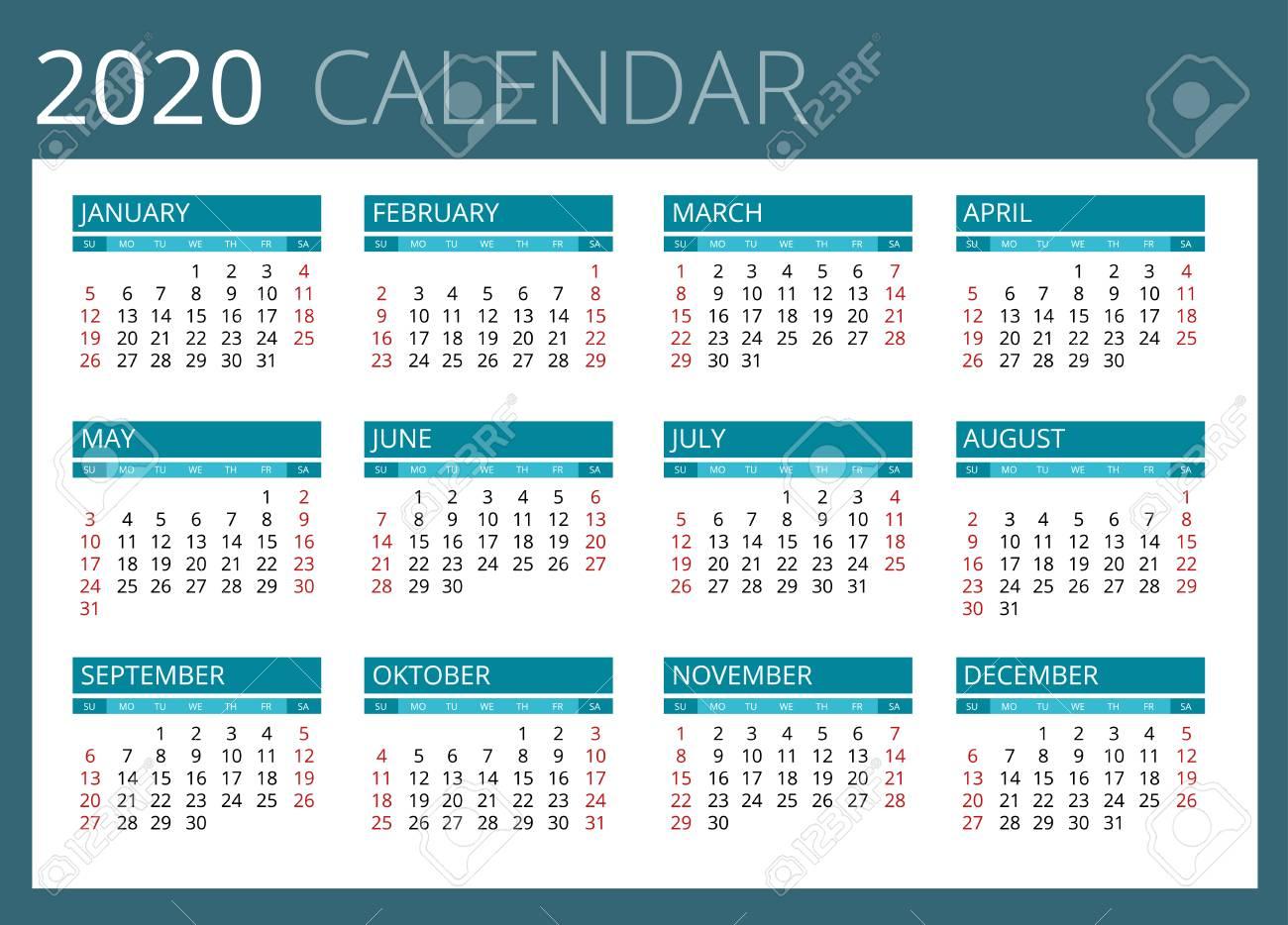 Calendario Para El Año 2020. La Semana Comienza El Domingo. El Diseño  Simple Del Vector for Calendario 2020 Con Semanas