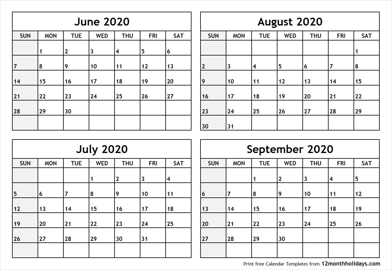 Calendarjunetoseptember2020Printable  All 12 Month intended for Calender August And September 2020