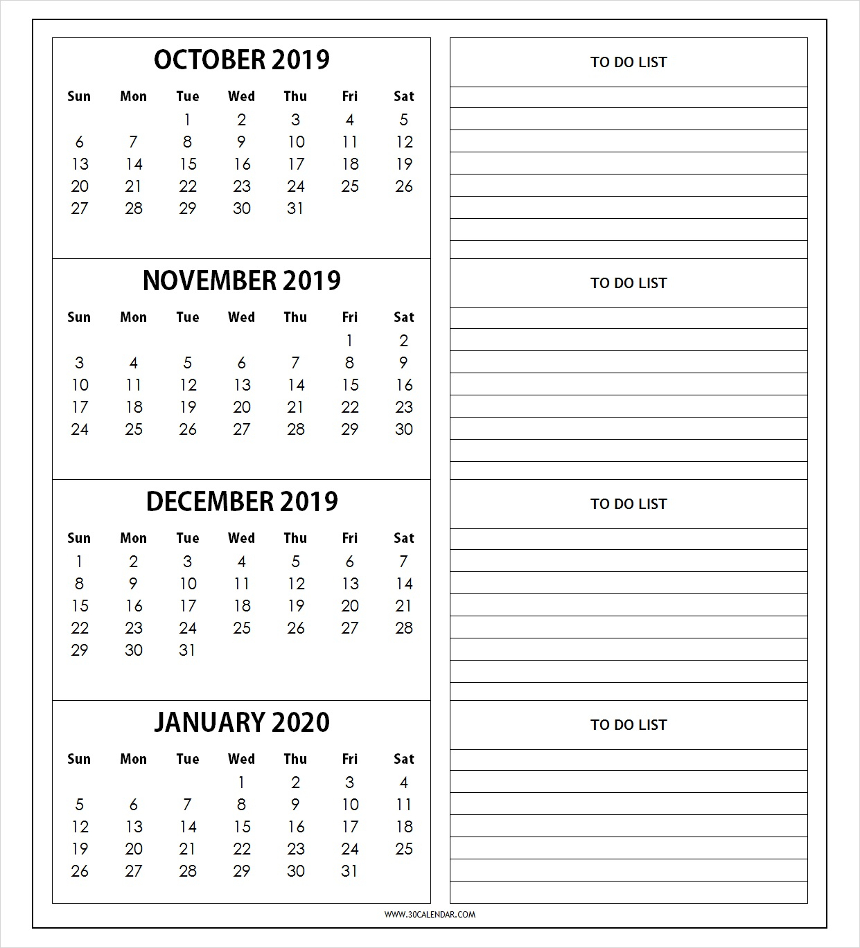 Calendaroctober2019Tojanuary2020Withnotes  30 Day with regard to October & November 2020 Calendar
