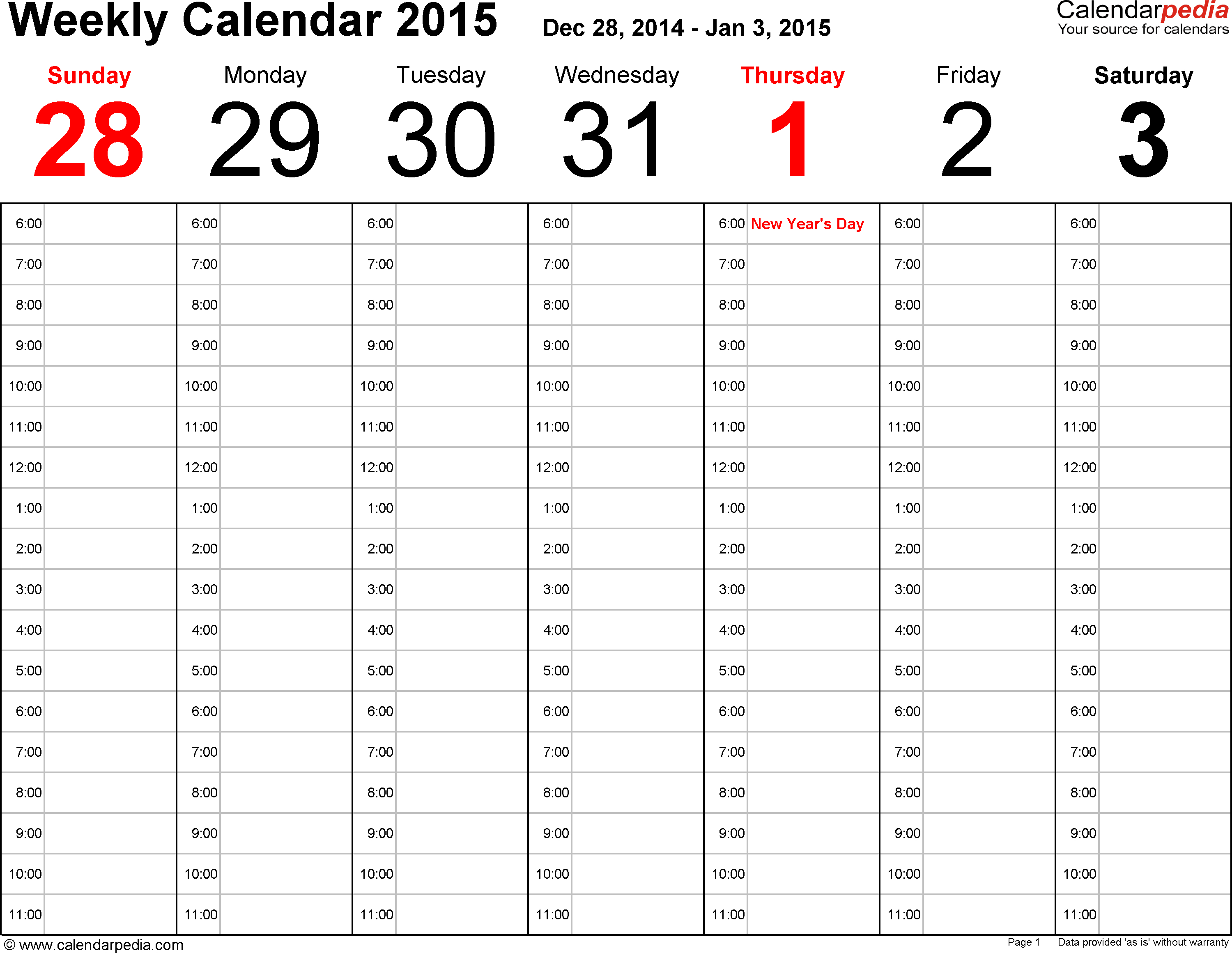 Calendarpedia  Free Printable, Fillable Calendar Templates within Calendarpedia Weekly Schedule