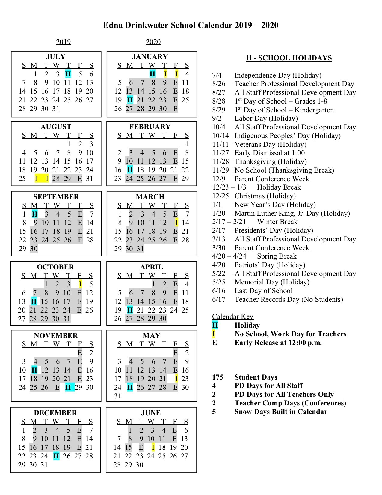 Calendars  Edna Drinkwater School pertaining to Edna Drinkwater School