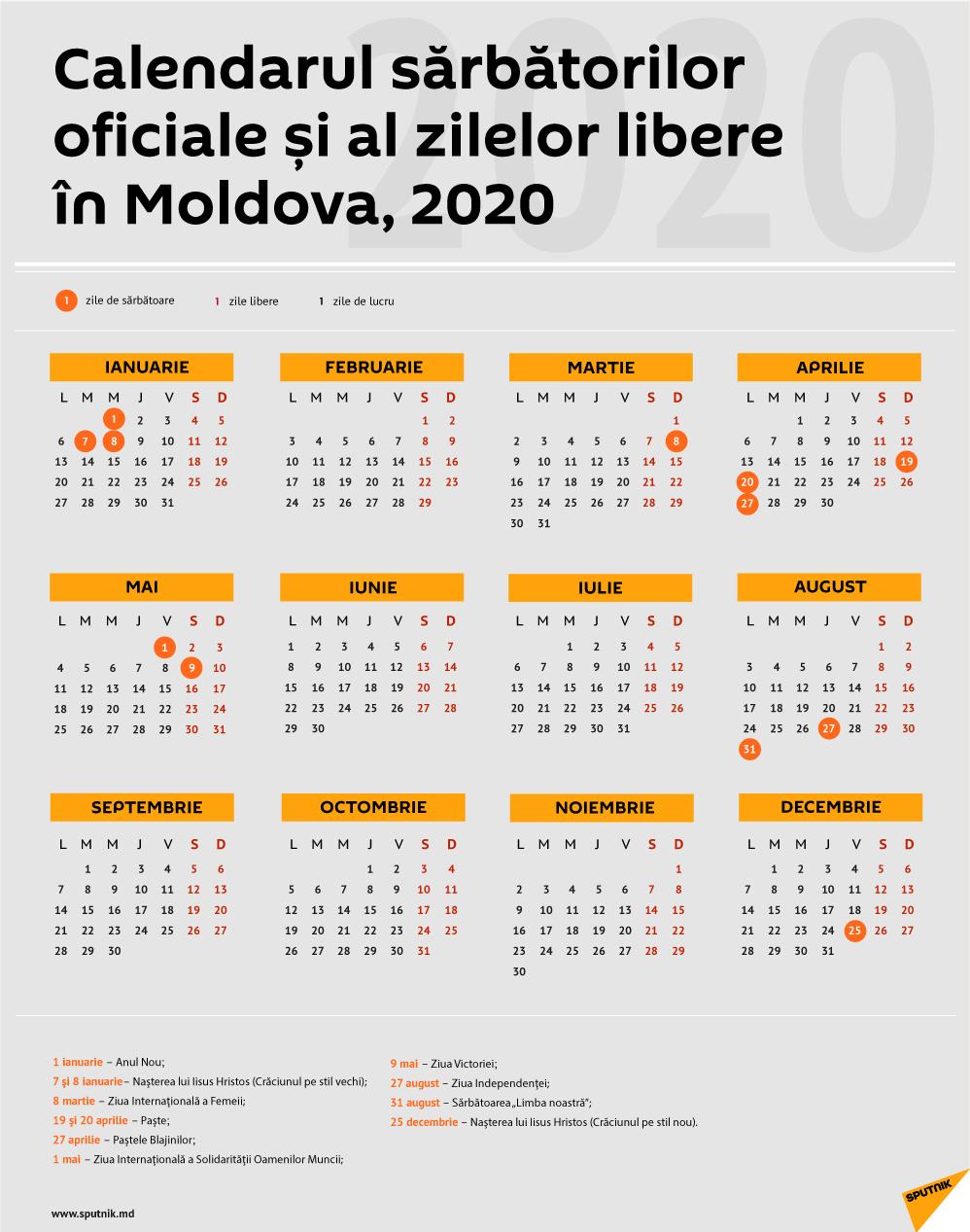 Calendarul Zilelor De Odihnă În Moldova În 2020 with regard to Calendar 2020 Cu Zile Lucratoare